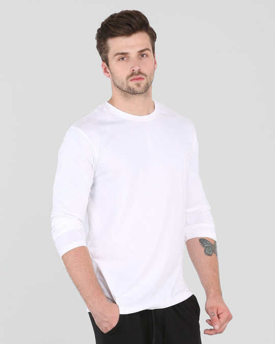 Shop Men's Plain Full Sleeve T-Shirt Pack of 2 (White)-Design