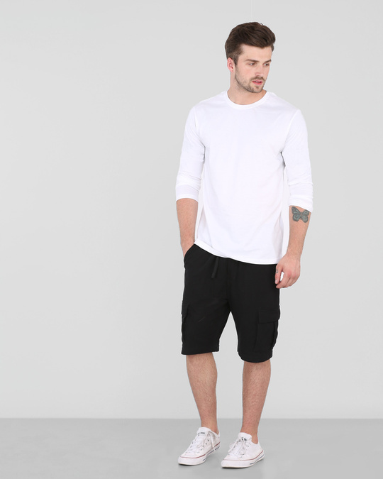 Shop Men's Plain Full Sleeve T-Shirt Pack of 2 (White)