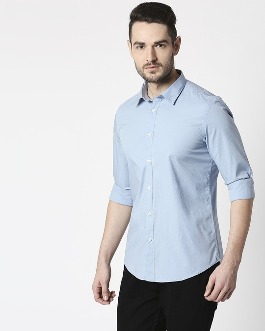 Shop Men Lt Blue Poplin Lycra Slim Fit Casual Shirt-Design