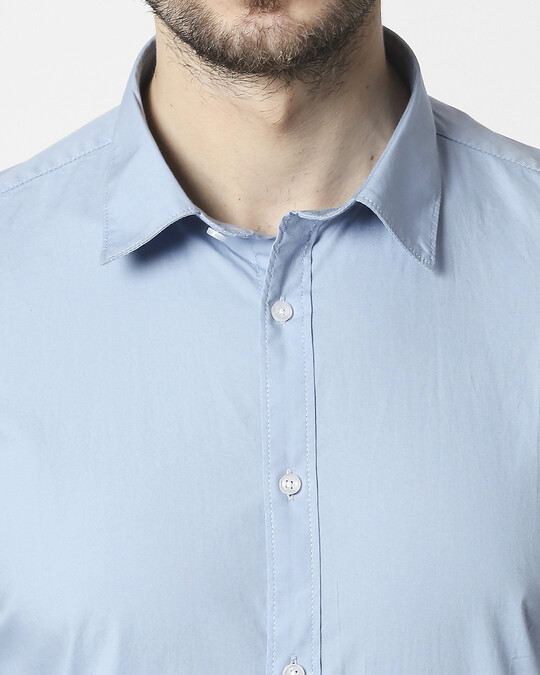 Shop Men Lt Blue Poplin Lycra Slim Fit Casual Shirt