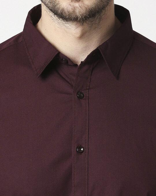 Shop Men Maroon Poplin Lycra Slim Fit Casual Shirt