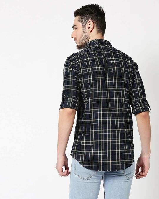 Shop Men Navy & Green Slim Fit Checked Casual Shirt-Full