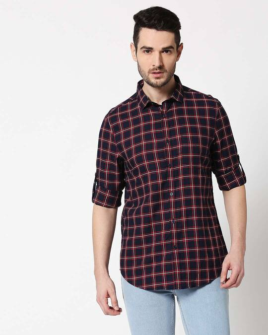 Shop Men Navy & Red Slim Fit Checked Casual Shirt-Back