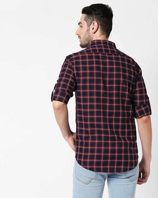 Shop Men Navy & Red Slim Fit Checked Casual Shirt-Full