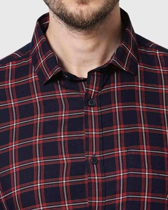 Shop Men Navy & Red Slim Fit Checked Casual Shirt