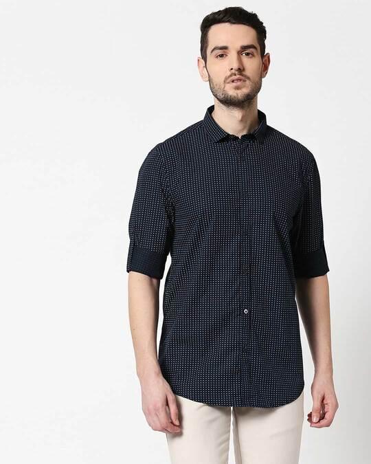 Shop Men Navy AOP Slim Fit Casual Shirt-Back