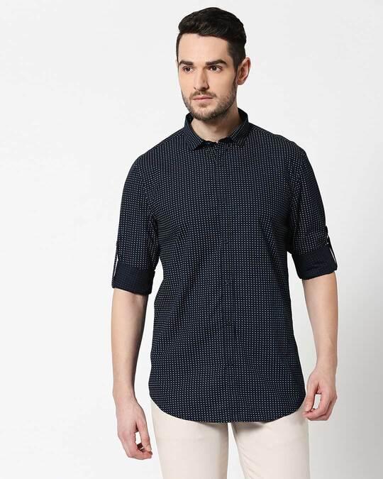 Shop Men Navy AOP Slim Fit Casual Shirt-Design