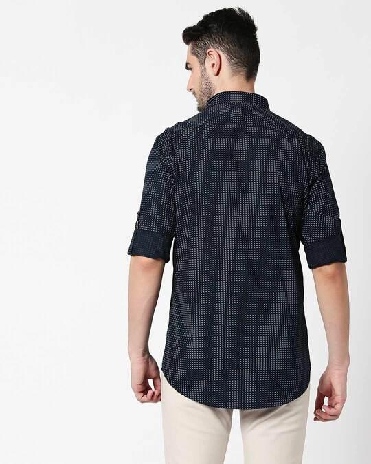 Shop Men Navy AOP Slim Fit Casual Shirt-Full