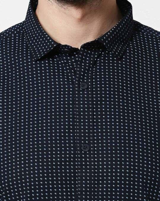 Shop Men Navy AOP Slim Fit Casual Shirt