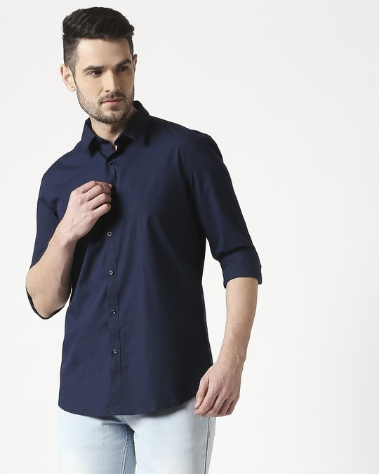 Shop Men Navy Poplin Lycra Slim Fit Casual Shirt-Back