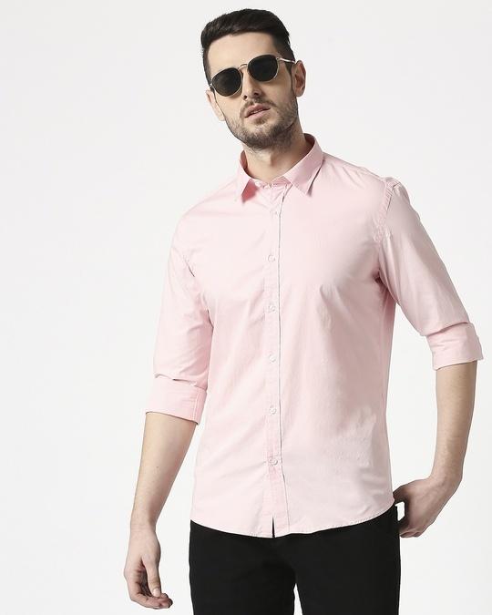 Shop Men Pink Poplin Lycra Slim Fit Casual Shirt-Front