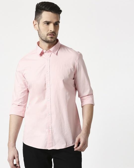 Shop Men Pink Poplin Lycra Slim Fit Casual Shirt-Back