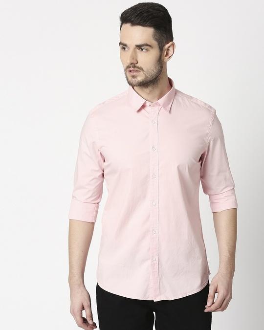 Shop Men Pink Poplin Lycra Slim Fit Casual Shirt-Design