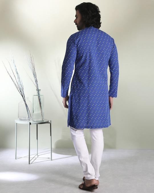 Shop Men's Printed Blue Long Kurta-Full
