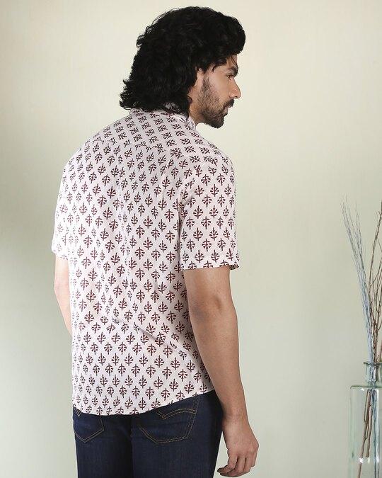 Shop Men's Printed Ethnic Half Sleeves White Shirt-Full