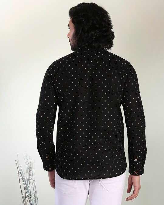 Shop Men's Printed Manadarin Collar Black Shirt-Design