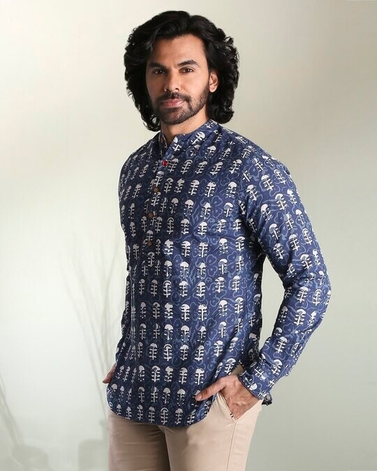Shop Men's Printed Mandarin Collar Indigo Short Kurta-Design