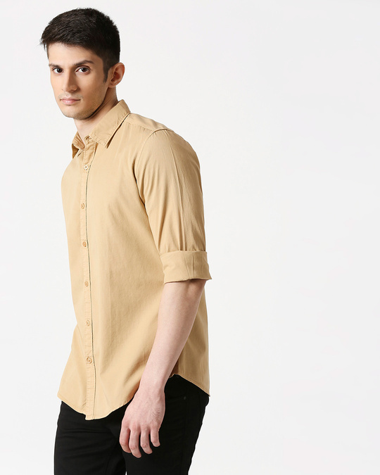 Shop Men's Beige Casual Slim Fit Over Dyed Shirts-Front