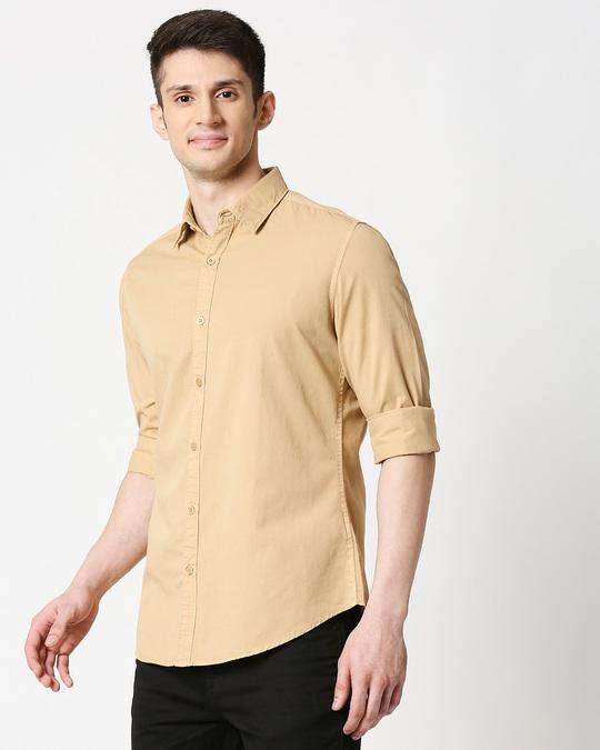 Shop Men's Beige Casual Slim Fit Over Dyed Shirts-Design