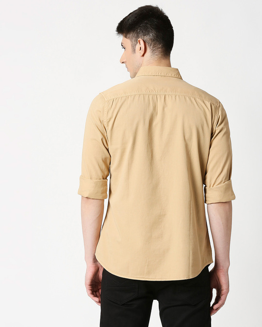 Shop Men's Beige Casual Slim Fit Over Dyed Shirts-Full