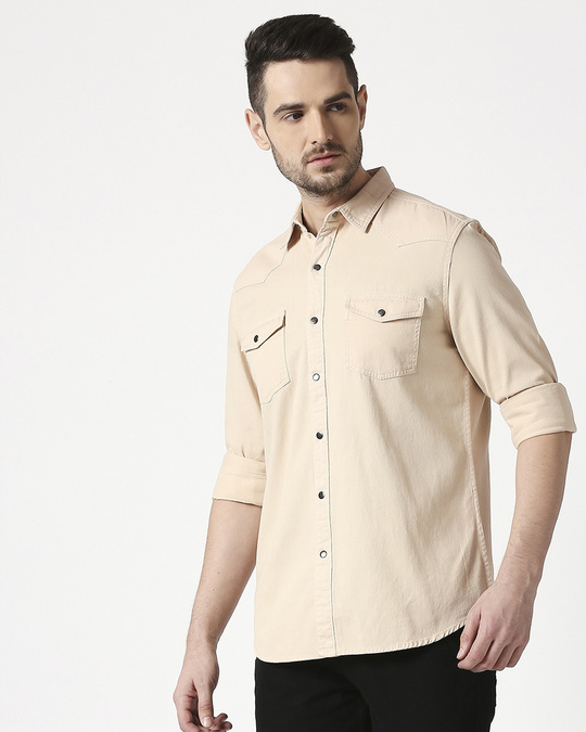 Shop Men's Beige Casual Twill Over Dyed Slim Fit Shirts-Back