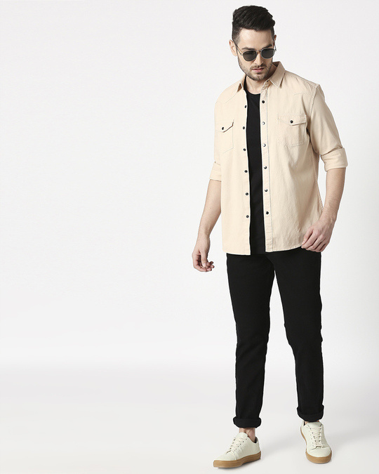 Shop Men's Beige Casual Twill Over Dyed Slim Fit Shirts-Full