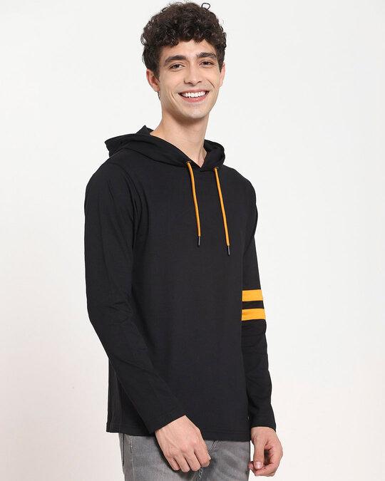 Shop Popcorn Yellow Shoulder Sleeve Stripe Hoodie T-Shirt-Design