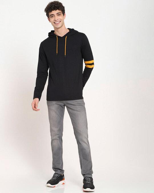 Shop Popcorn Yellow Shoulder Sleeve Stripe Hoodie T-Shirt