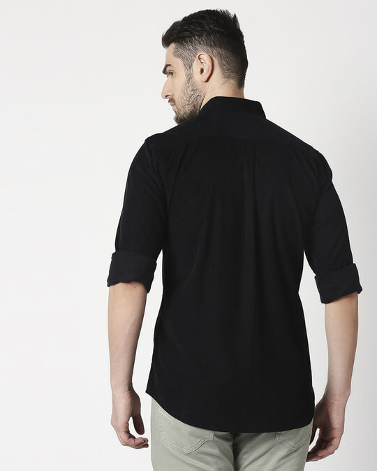 Shop Men's Black Casual Slim Fit Corduroy Shirts-Full
