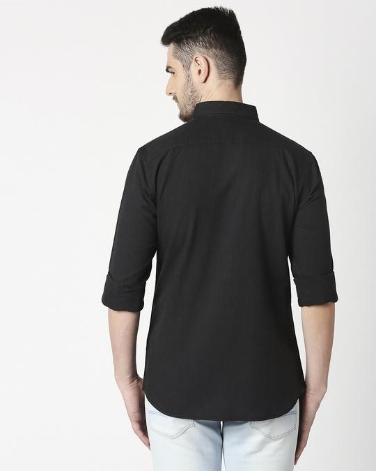 Shop Men's Black Slim Fit Casual Oxford Shirt-Design