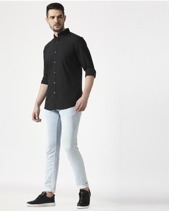 Shop Men's Black Slim Fit Casual Oxford Shirt-Full