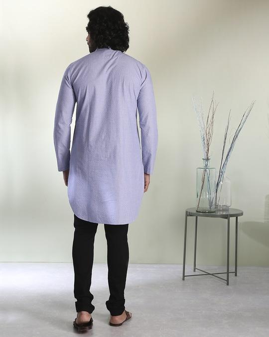 Shop Men's Blue & White Dobby Gulabo Embroidered  Kurta