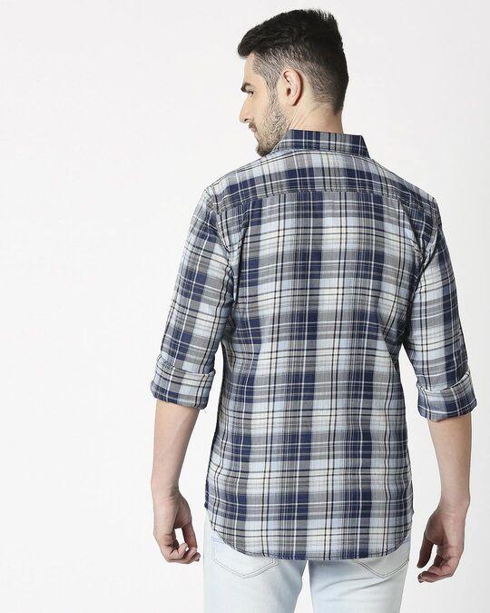 Shop Men's Blue Slim Fit Casual Indigo Shirt-Full