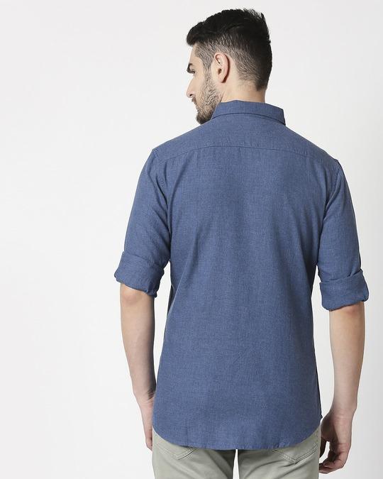 Shop Men's Blue Slim Fit Casual Melange Shirt-Full