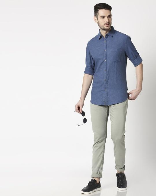 Shop Men's Blue Slim Fit Casual Melange Shirt