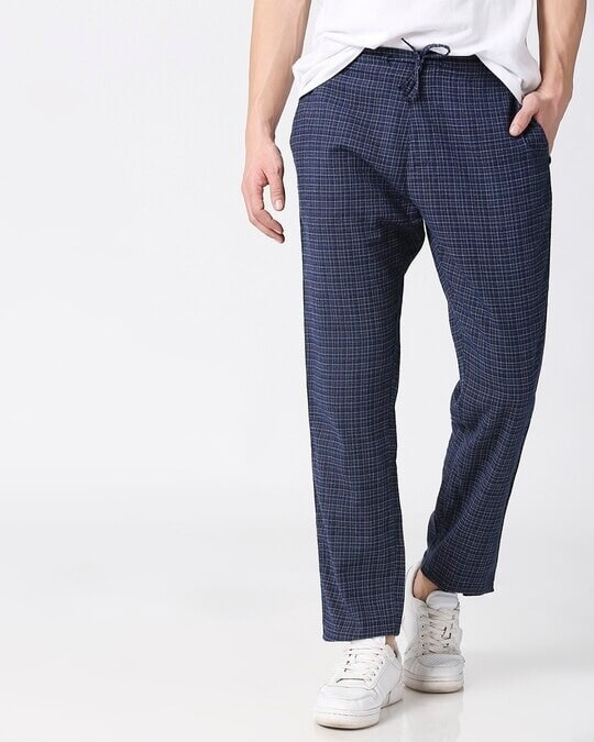 Shop Mens Checks Side Tape Pyjama-Front
