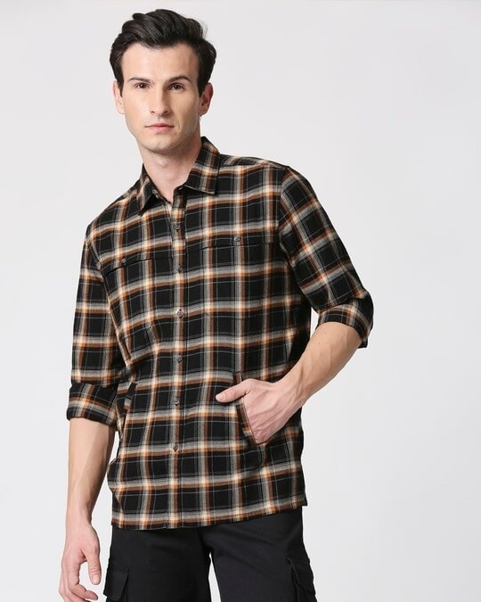 Shop Mens Checks Double Pocket Shirt-Back
