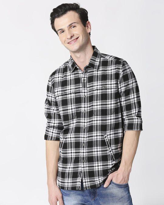 Shop Mens Checks Double Pocket Shirt-Front