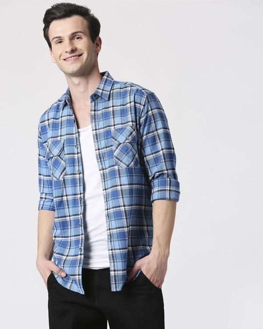 Shop Mens Checks Pocket Casual Shirt-Front
