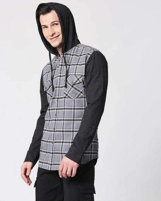 Shop Mens Checks Hoodie Shirt-Back