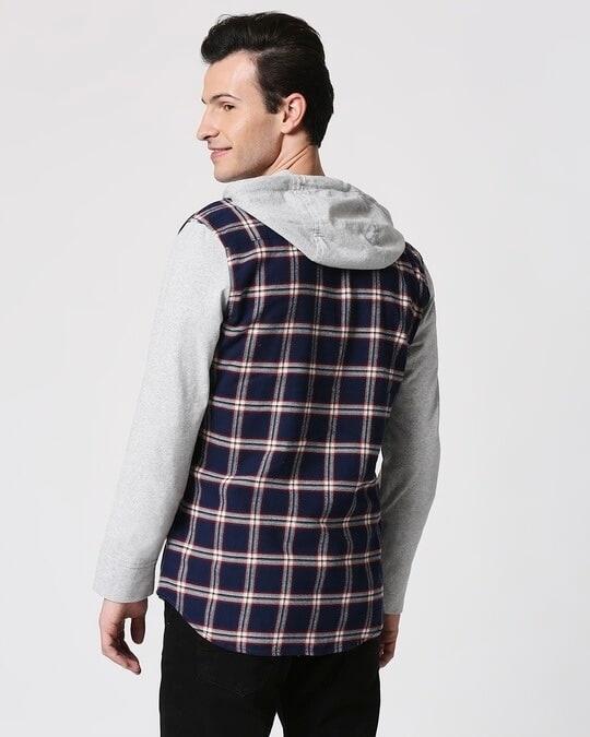 Shop Mens Checks Hoodie Shirt-Full