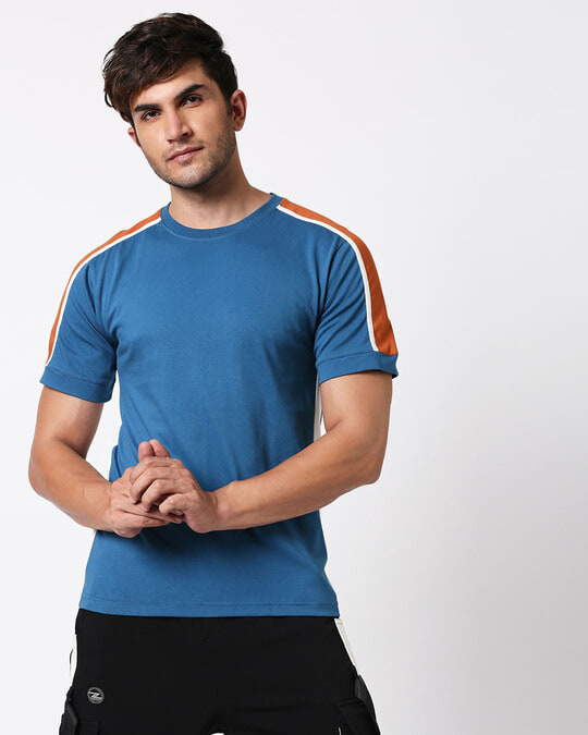 Shop Digi Teal Colorblock Half Sleeve T-Shirt-Back