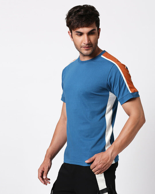 Shop Digi Teal Colorblock Half Sleeve T-Shirt-Design