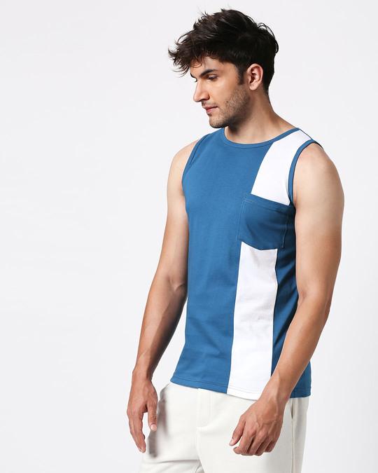 Shop Digi Teal Colorblock Pocket Vest-Full