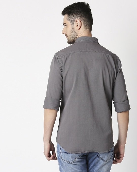 Shop Men's Dark Grey Casual Twill Over Dyed Slim Fit Shirts-Full