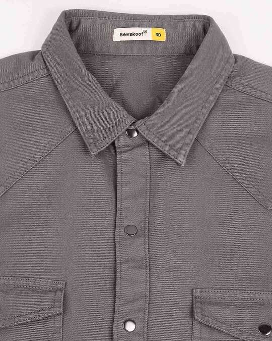 Shop Men's Dark Grey Casual Twill Over Dyed Slim Fit Shirts