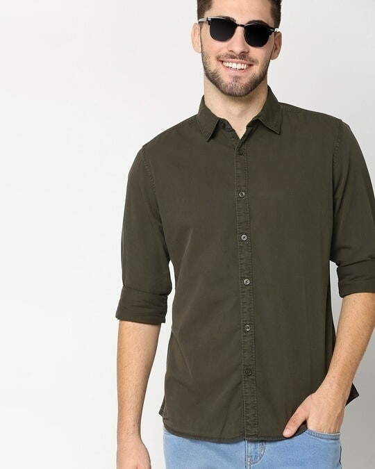 Shop Dark Grey Casual Slim Fit Over Dyed Shirt-Front