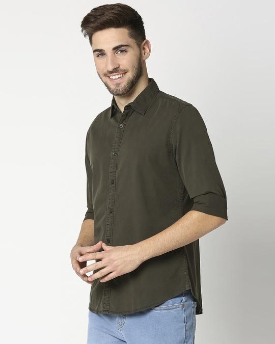 Shop Dark Grey Casual Slim Fit Over Dyed Shirt-Design
