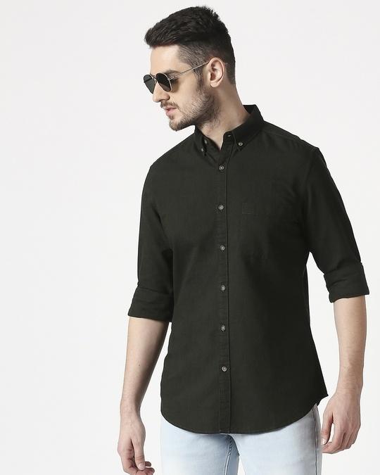 Shop Men's Dk Olive Slim Fit Casual Oxford Shirt-Front