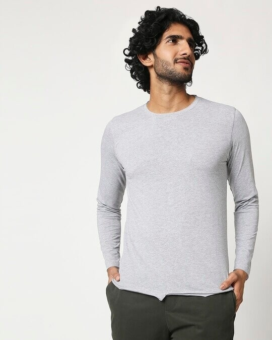 Shop Men's Full Sleeve Melange Cut & Sew T-Shirt-Back